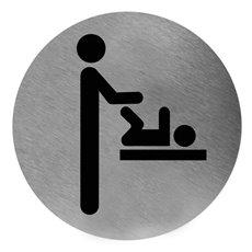 Mediclinics pictogram luierverschoning zelfklevend rond RVS PS0001CS
