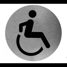 Mediclinics pictogram invalide toilet zelfklevend rond RVS PS0004CS